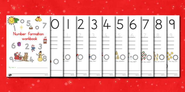 Australia Sunny Christmas Number Formation Workbook - christmas, number