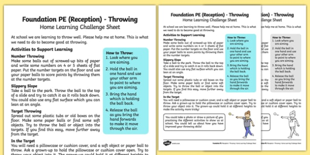 Foundation PE (Reception) - Throwing Home Learning Challenge Sheet - EYFS, PE, Physical Development