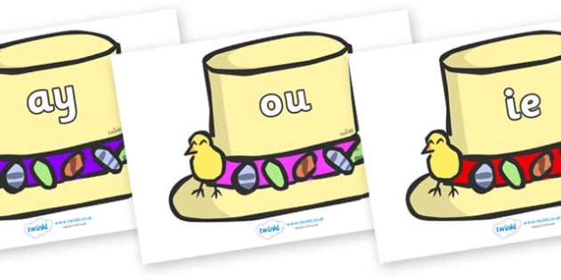 Phase 5 Phonemes on Easter Bonnets - Phonemes, phoneme, Phase 5, Phase five, Foundation, Literacy, Letters and Sounds, DfES, display