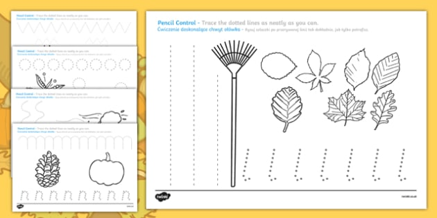 Autumn-Themed Pencil Control Activity Sheets Polish Translation-Polish-translation, worksheet