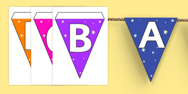 Star Themed Capital Letter Alphabet Bunting - star, bunting, display
