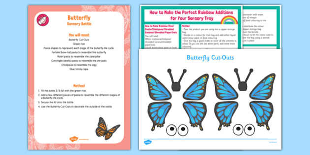 Butterfly Sensory Bottle - Butterfly, caterpillar, chrysalis, egg
