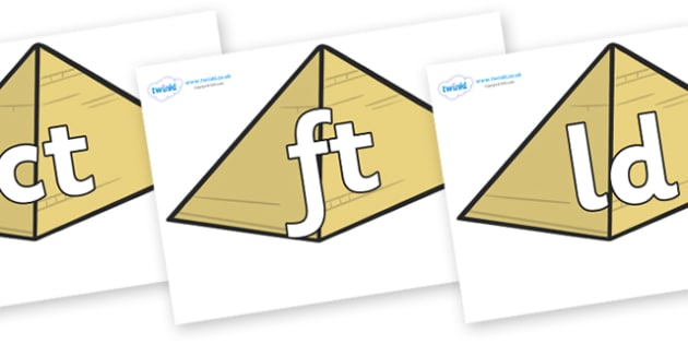 Final Letter Blends on Pyramids - Final Letters, final letter, letter blend, letter blends, consonant, consonants, digraph, trigraph, literacy, alphabet, letters, foundation stage literacy