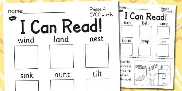 I Can Read Phase 4 CVCC Words Activity Sheet - read, cvcc, words, worksheet