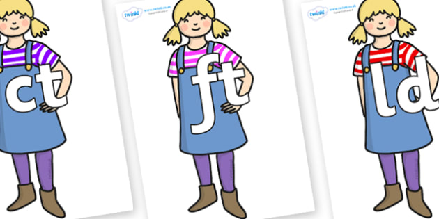 Final Letter Blends on Little Girl - Final Letters, final letter, letter blend, letter blends, consonant, consonants, digraph, trigraph, literacy, alphabet, letters, foundation stage literacy