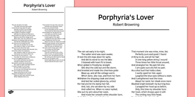 Porphyria's Lover by Robert Browning Poem - poem, poetry, lover