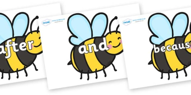 Connectives on Bees - Connectives, VCOP, connective resources, connectives display words, connective displays