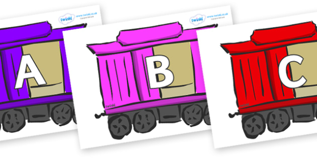 A-Z Alphabet on Carriages - A-Z, A4, display, Alphabet frieze, Display letters, Letter posters, A-Z letters, Alphabet flashcards
