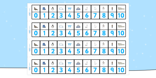 Numbers 0-20 Numbertrack (Winter) - Maths, Math, number track, winter, numbertrack, Counting, Numberline, Number line, Counting on, Counting back, skis, ice skates, polar bear, whale, penguin, huskey, snow, winter, frost, cold, ice, hat, gloves