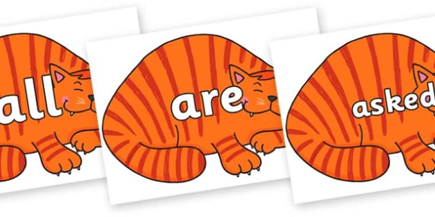 Tricky Words on Hullabaloo Cat to Support Teaching on Farmyard Hullabaloo - Tricky words, DfES Letters and Sounds, Letters and sounds, display, words
