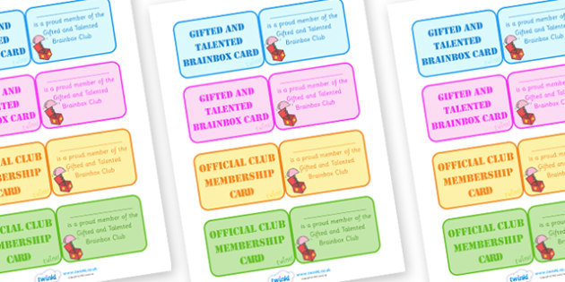 Gifted And Talented Brainbox Card - membership cards, gifted, talented, children, cards