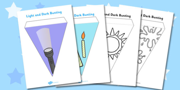 Light and Dark Bunting - light, dark, bunting, sun, moon, torch