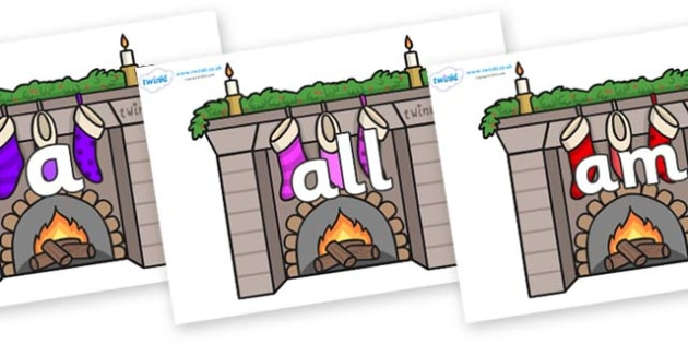 Foundation Stage 2 Keywords on Fireplaces - FS2, CLL, keywords, Communication language and literacy,  Display, Key words, high frequency words, foundation stage literacy, DfES Letters and Sounds, Letters and Sounds, spelling
