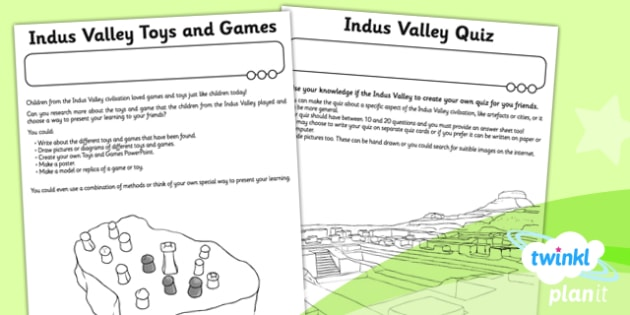 PlanIt History UKS2 The Indus Valley Unit Home Learning Tasks