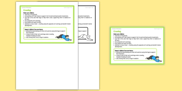 Foundation PE (Reception) - Crawling Teacher Support Card - EYFS, PE, Physical Development, Planning