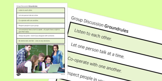 Group Discussion Ground Rules Poster - group, discussion, class