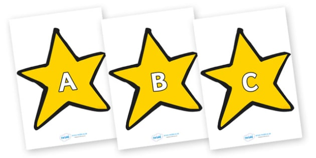 A-Z Alphabet on Stars (Plain) - A-Z, A4, display, Alphabet frieze, Display letters, Letter posters, A-Z letters, Alphabet flashcards
