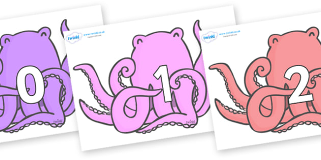 Numbers 0-50 on Octopus to Support Teaching on The Rainbow Fish - 0-50, foundation stage numeracy, Number recognition, Number flashcards, counting, number frieze, Display numbers, number posters