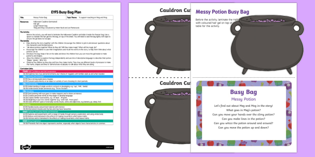 EYFS Messy Potion Busy Bag Plan and Resource Pack