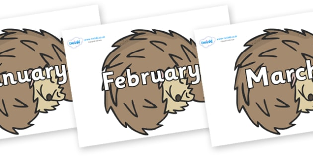 Months of the Year on Hedgehogs - Months of the Year, Months poster, Months display, display, poster, frieze, Months, month, January, February, March, April, May, June, July, August, September