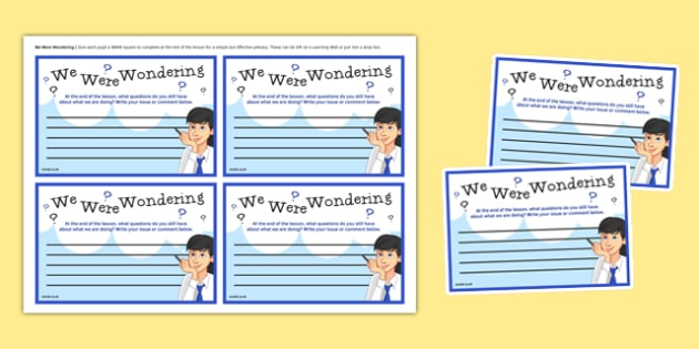 We Were Wondering Cards - English, KS3, KS4, plenary tasks, student voice, revision, questions, 4 part lesson