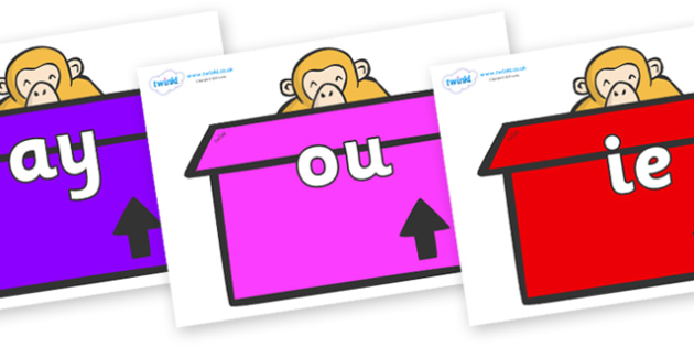 Phase 5 Phonemes on Monkeys (Box) to Support Teaching on Dear Zoo - Phonemes, phoneme, Phase 5, Phase five, Foundation, Literacy, Letters and Sounds, DfES, display