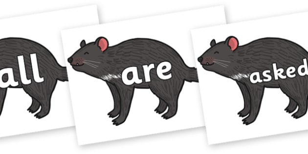 Tricky Words on Tasmanian Devil - Tricky words, DfES Letters and Sounds, Letters and sounds, display, words