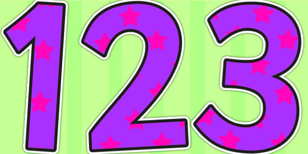 Purple and Pink Stars Small Display Numbers - display numbers, purple, pink