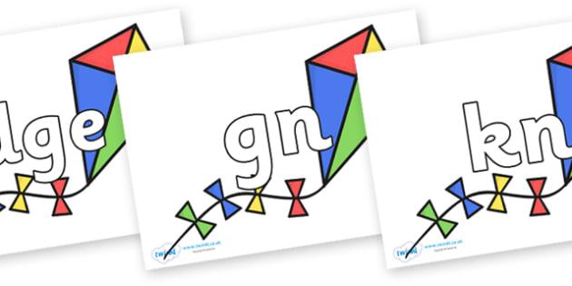 Silent Letters on Kites - Silent Letters, silent letter, letter blend, consonant, consonants, digraph, trigraph, A-Z letters, literacy, alphabet, letters, alternative sounds