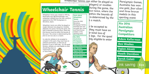 Australia Rio Paralympics 2016 Wheelchair Tennis Display Poster