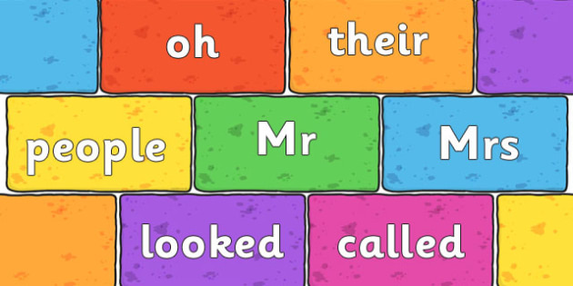 Phase 4 and Phase 5 High Frequency Words on Multicoloured Bricks