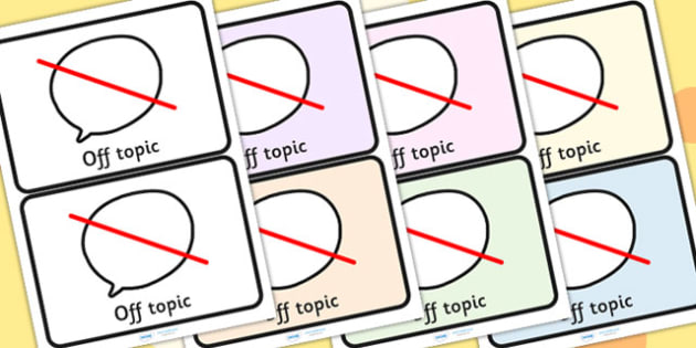Off Topic Visual Support Cards - SEN, SEN cards, visual aid