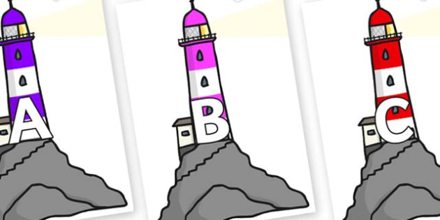 A-Z Alphabet on Lighthouses - A-Z, A4, display, Alphabet frieze, Display letters, Letter posters, A-Z letters, Alphabet flashcards