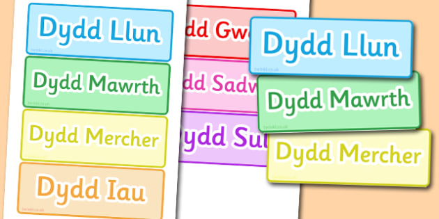 Days of the Week Word Cards Welsh - literacy, words, visual