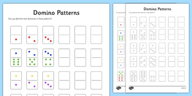Y1 Domino Patterns Activity Sheet, worksheet