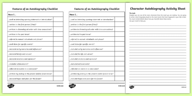 Character Autobiography Activity Sheet-Irish, worksheet