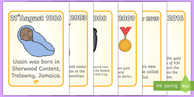 Usain Bolt Timeline Posters - Usain Bolt, Sherwood Content, Jamaica, Trelawny, world record, 100 meter dash, timeline, timeline poster, posters, sign, banner, track meet, Junio World Championships, Jamaican Olympic Team, gold medal
