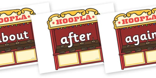 KS1 Keywords on Hoopla Stands - KS1, CLL, Communication language and literacy, Display, Key words, high frequency words, foundation stage literacy, DfES Letters and Sounds, Letters and Sounds, spelling