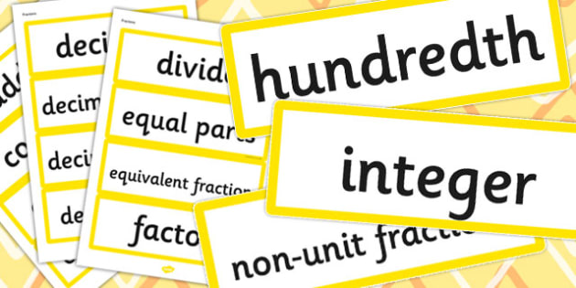 Year 4 2014 Curriculum Maths Vocabulary Cards Fractions - vocab