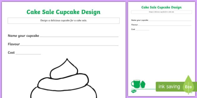 Cake Sale Cupcake Design Activity Sheet, worksheet
