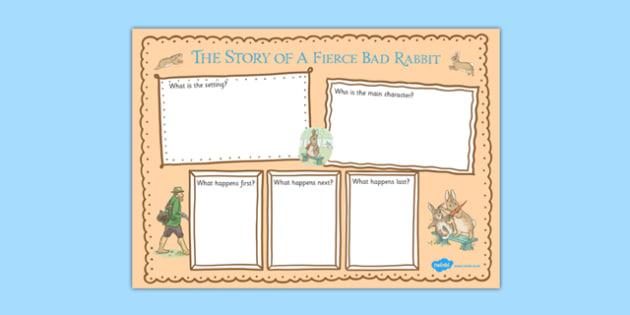 Beatrix Potter - The Story of a Fierce Bad Rabbit Book Review Writing Frame - beatrix potter, fierce, bad, rabbit