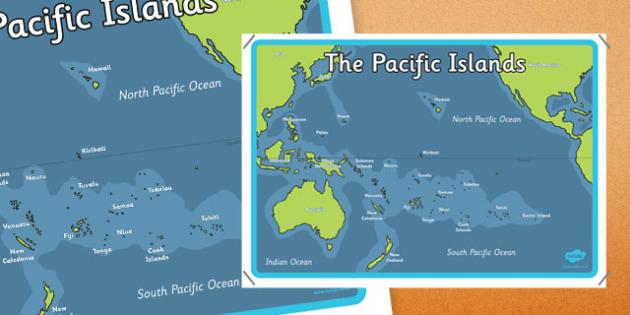 Pacific Islands Map Poster - nz, new zealand, pacific islands, map, poster, display