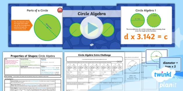 PlanIt Y6 Properties of Shape Lesson Pack - Properties of Shape, parts of a circle, radius, diameter, circumference.