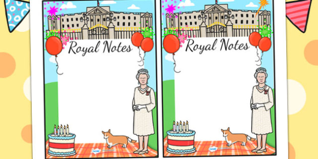 Queen's Birthday Editable Notes To Teacher - royal family, note