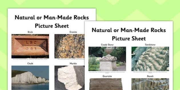 Natural or Man Made Rocks Picture Sheet - natural, man made, rocks