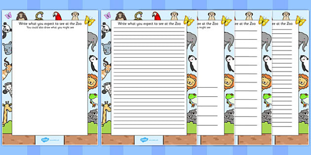 Zoo Trip Themed Writing Frames - zoo, trip, writing frame, frame