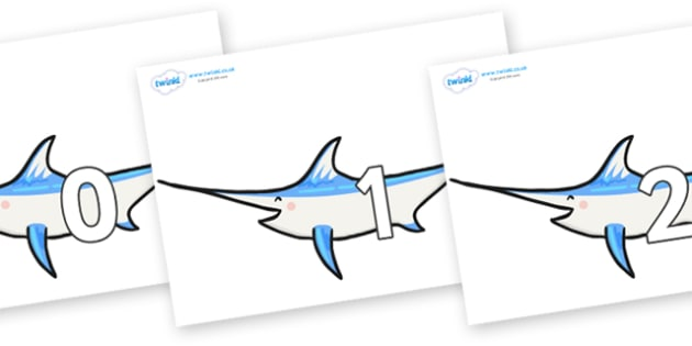 Numbers 0-50 on Sword Fish - 0-50, foundation stage numeracy, Number recognition, Number flashcards, counting, number frieze, Display numbers, number posters