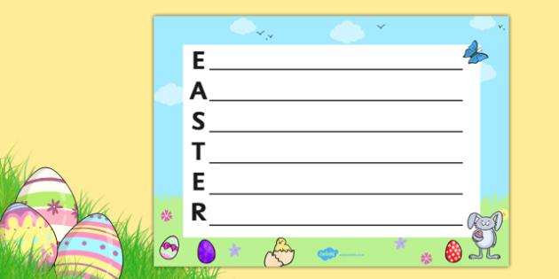 Landscape Easter Acrostic Poem - easter, acrostic poem, landscape