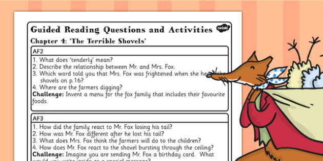 Guided Reading Questions Chapter 4 to Support Teaching on Fantastic Mr Fox - mr fox