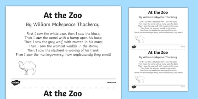 At the Zoo by William Makepeace Thackeray Print Out